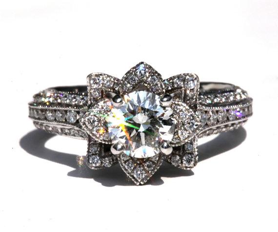 Hochzeit - MILGRAIN - Gorgeous UNIQUE Flower Lotus Rose Diamond Engagement Ring - 2.50 carat - 14K white -  rose