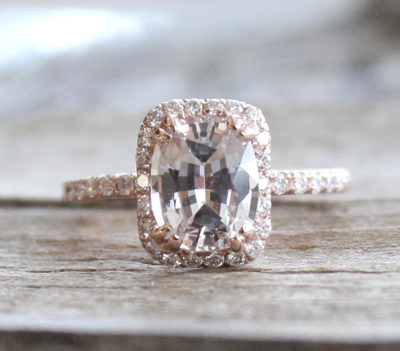 On hold 213 cts rectangular cushion champagne peach sapphire on hold 213 cts rectangular cushion champagne peach sapphire diamond halo engagement ring in 14k rose gold new junglespirit Images