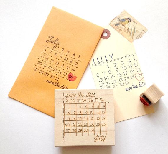 Save The Date Stamp Custom Wedding Calendar With Heart Marker DIY
