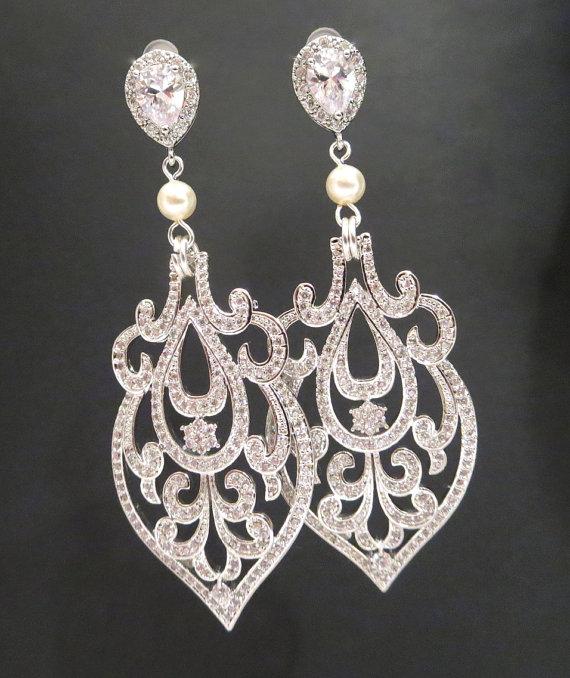 Mariage - Bridal earrings, Crystal Wedding earrings, Chandelier Earrings, Bridal jewelry, Art Deco Earrings, Vintage earrings, AMELIA - New
