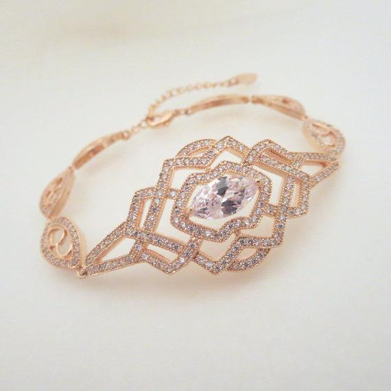 Hochzeit - Rose Gold Bridal Bracelet, Crystal Wedding bracelet, Bridal jewelry, Rose Gold Cuff bracelet, Art Deco Wedding bracelet, Rhinestone bracelet - New