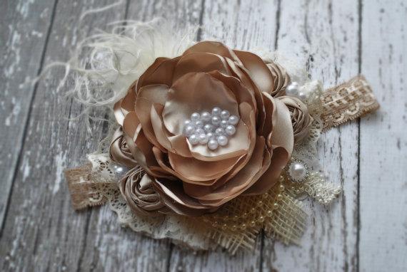 زفاف - Burlap headband Marie Antoinette headband flower girl headband headbands for flower girl ivory flower girl hair accessories for flower girls - New