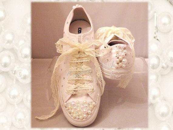 99d3d8abf540 Wedding converse   lace shoes   brides converse   premium range  pearl  converse   vintage   delicate   romantic   White wedding - New