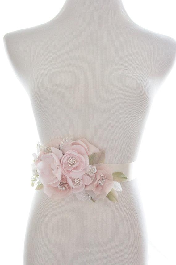 Mariage - Whimsical crystal flower sash, organza rhinestone belt, bridal belt, rhinestone wedding sash - New