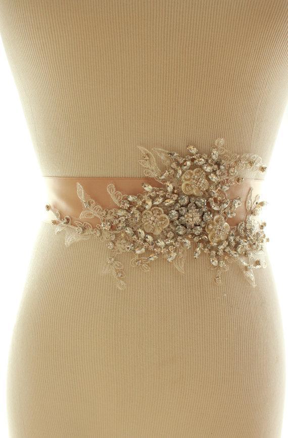 Mariage - Bridal Crystal Pearl Sash, Wedding Rhinestone Beaded Belt - New