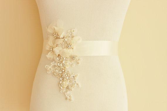 Mariage - Rhinestone Crystal Gold Silk Bridal Sash, Crystal Bridal Belt - New
