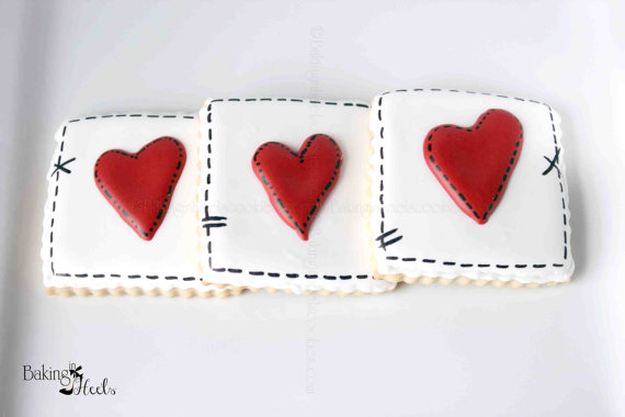 Valentine S Day Stitched Heart Decorated Cookies Heart Cookies