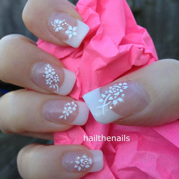 زفاف - White Nail Art Stickers Nail Decals Wraps Sparkly Flower Butterfly Crystal YD084 - New