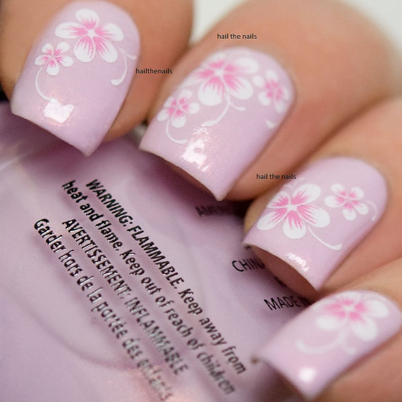 Fashion Nail Art Designs Game Pink Nails Manicure Salon: Pink Daisy Nail Wraps Nail Art Nail Decals Water Transfers