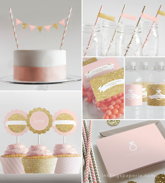 bridal shower decorations printable pink gold collection new