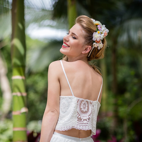 Wedding - Stunning 2-pieces lace Wedding dress White / Ivory  - Open Back Chiffon Wedding gown