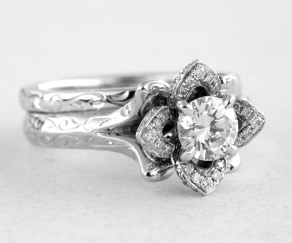 Wedding Set Engraved Flower Rose Diamond Engagement Ring And Band 14k White Gold Leaves Flowers Beautiful Petra Fl09 New