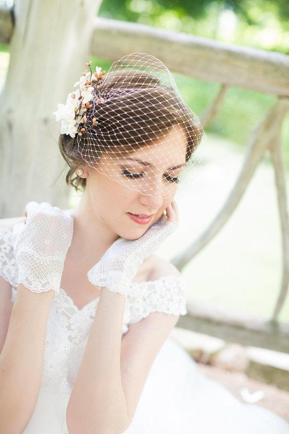 Свадьба - pink bridal bandeau veil -  wedding birdcage veil