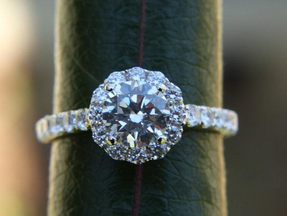 Mariage - Diamond Engagement Ring  -14K white gold - 1.35 carat - Round - Flower Halo - Pave - Antique Style - Bp0014 - New