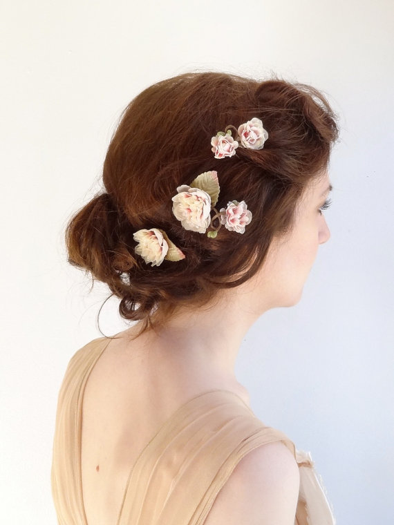Mariage - pink and cream hair pins -  bridal hair pins pearl