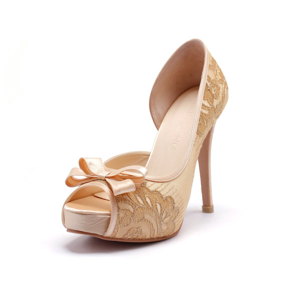Lady Catherine - Champagne Gold Wedding Heels #2226846 - Weddbook