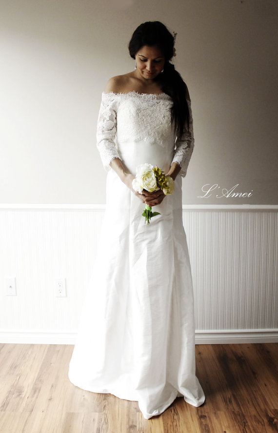 Off Shoulder White Lace Wedding Dress Custom Long Bohemian Gown New