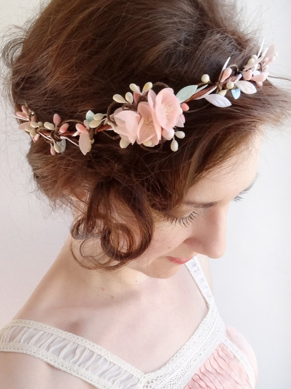Mint Hair Piece Floral Crown Mint Flower Circlet Blush Pink Hair