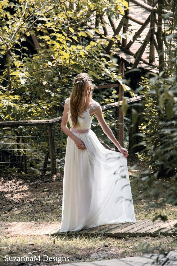Mariage - Bohemian Wedding Dress Long Boho Bridal Wedding Gown Gypsy Long Bridal Ivory Dress - Handmade by SuzannaM Designs - New