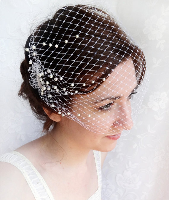 Mariage - birdcage veil with pearls -  wedding bandeau veil