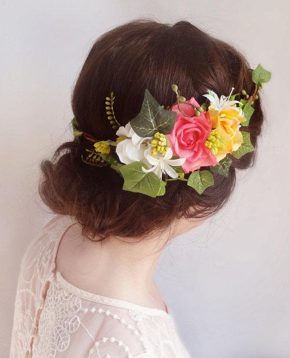 زفاف - bridal floral crown, pink flower crown, bridal hair accessories, ivy -CAROLINE- wedding headpiece, bright pink, yellow rose flower wreath - New