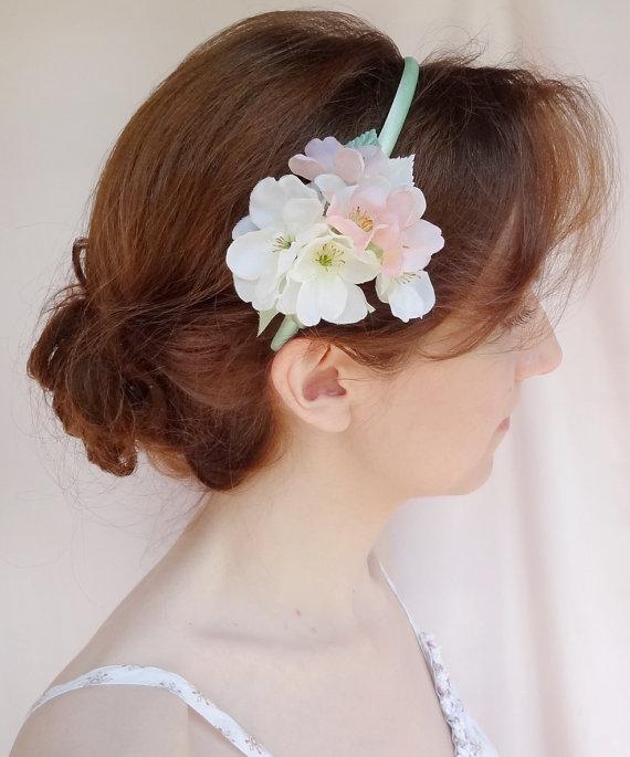 Wedding - mint flower girl headband, mint and blush wedding, cherry blossom hair accessory, flower headband, bridal hair accessories - New