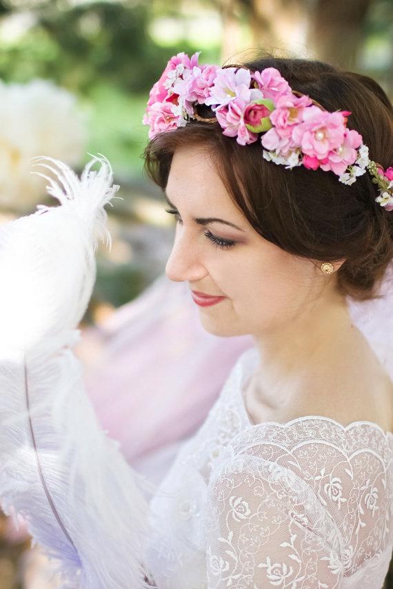 Свадьба - bright pink flower crown