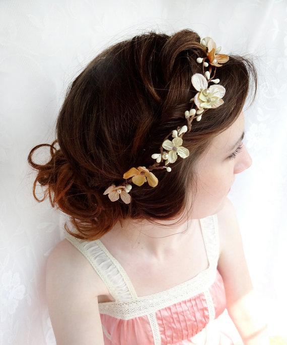 Mariage - champagne bridal headband, hair accessories, gold flower hairpiece, flower circlet halo - PERSEPHONE - beige headband, flower girl headband - New