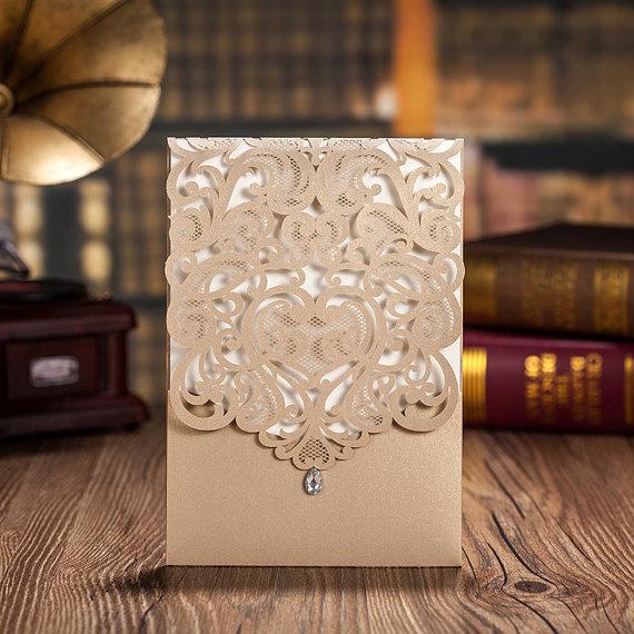 Mariage - 50pcs Gold Lace Wedding Invitation card