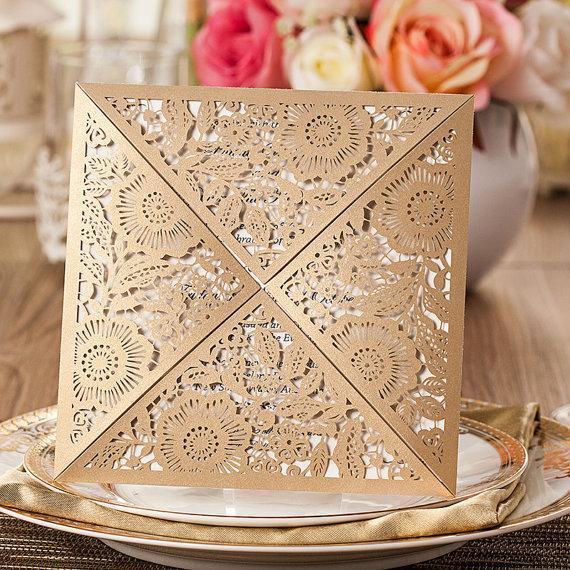 زفاف - 50 Fancy Golden Flower Invitation For Wedding