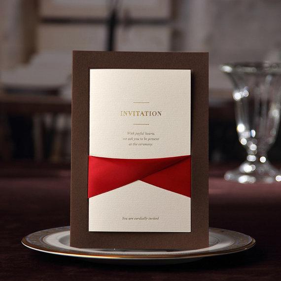 Wedding - Luxury Coffee Invitation with Elegant Ribbon, High Quality Invitation cards, Ship Worldwide 3-5 Days-- Set of 50 - New