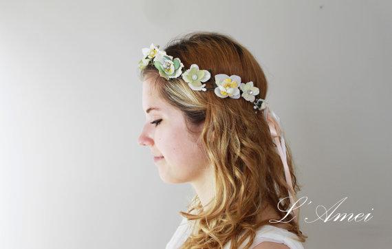 زفاف - Vintage Style Floral Crown Tiara, Ivory Rhinestone  Flower Wreath, Bridal Hair Accessories, Cream hair piece - New