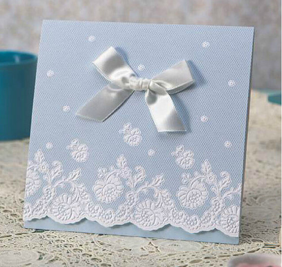 Mariage - Sky Blue Lace Wedding Invitation Cards With Ribbon Bow