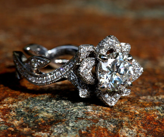 Wedding - Lotus Diamond Engagement Ring