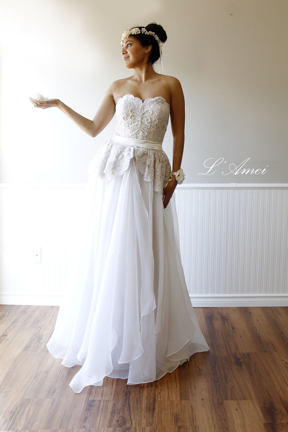 Wedding - Long Hand made Lace Beaded Wedding Dress Gown.