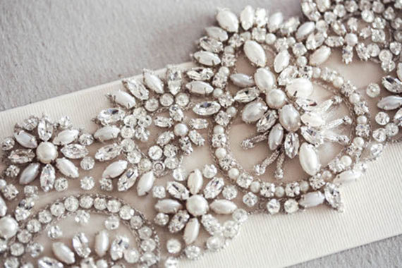 Свадьба - Bridal Sash -  Parl - 19 inches  (Made to Order) - New