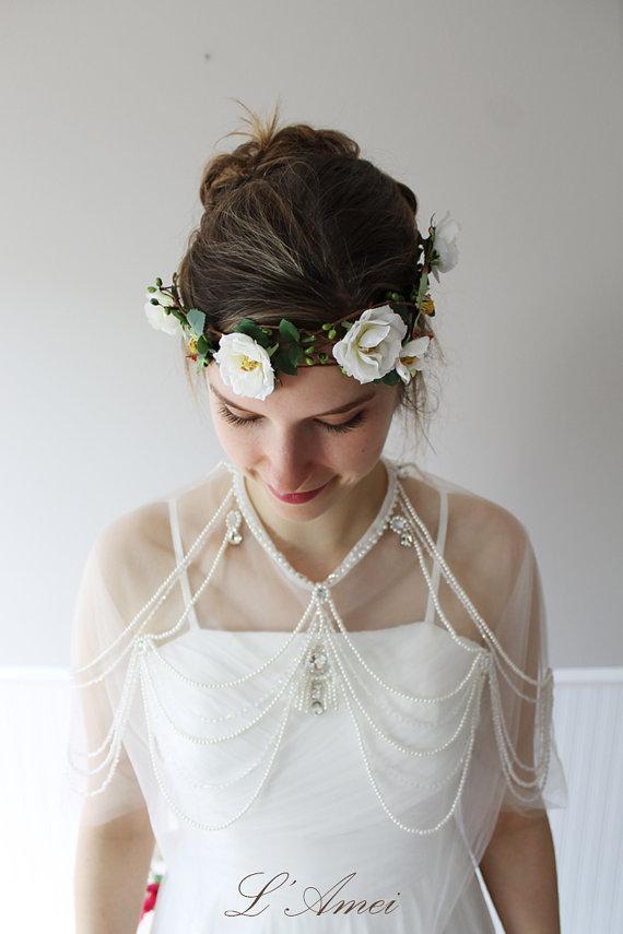Mariage - Bridal Wedding Head Wreath Circlet with Green Leaves Hair Accessory