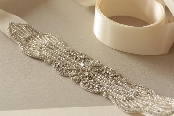Mariage - Wedding dress belt in ivory