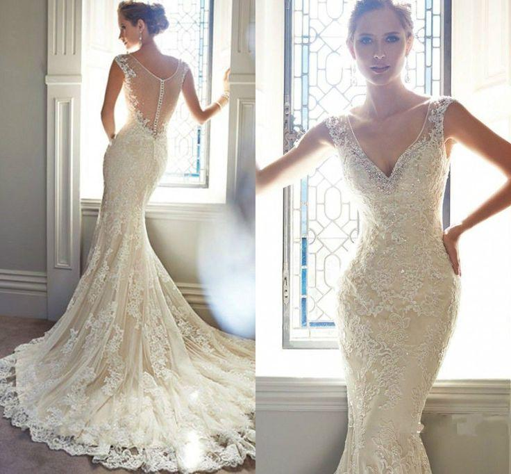 Vintage Ivory Lace Bridal Gowns Long Mermaid Wedding Dresses 6-8-10 ...