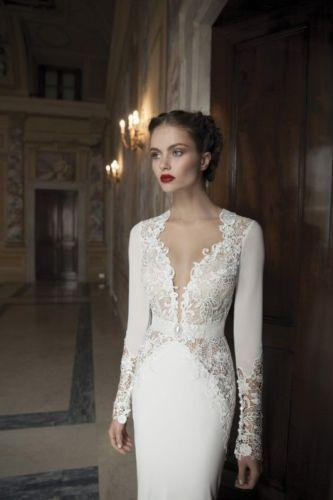 Свадьба - New Long Sleeve White Ivory Backless Wedding Dresses Custom Size 6 8 10 12 14