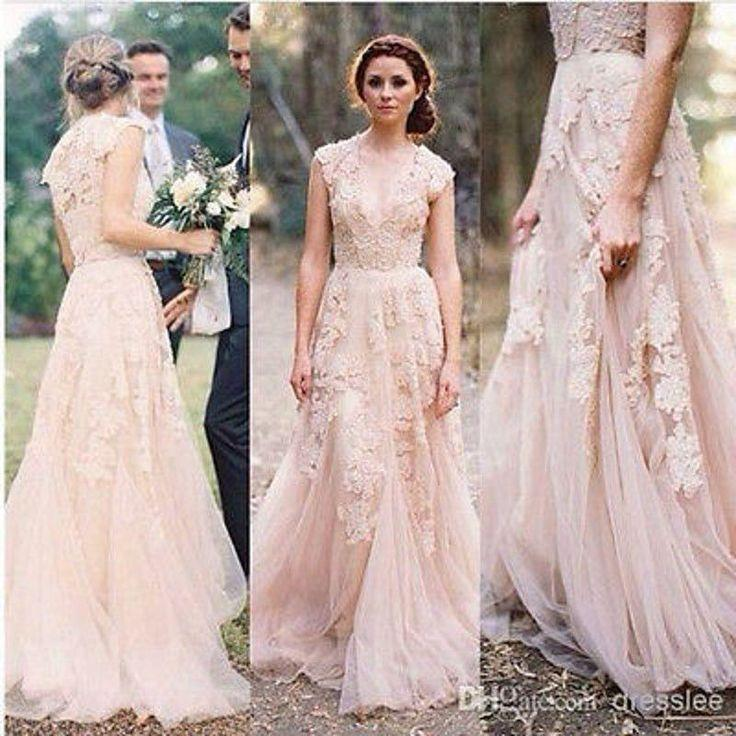 Vintage Lace Wedding Dresses Cap Sleeve Bridal Gowns Custom Size 2 4
