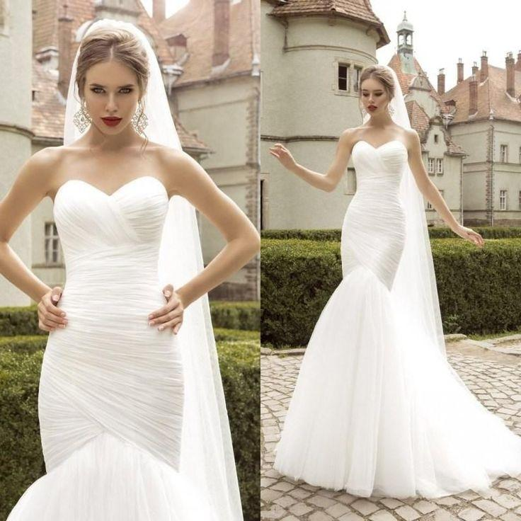 White/Ivory Mermaid Wedding Dress Bridal Gown Custom Size 4 6 8 10 ...