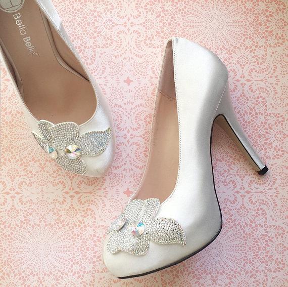 Hochzeit - Sale! Crystal Embellished Flower Applique White Ivory Satin Bridal Wedding Platform Pumps Shoes - New