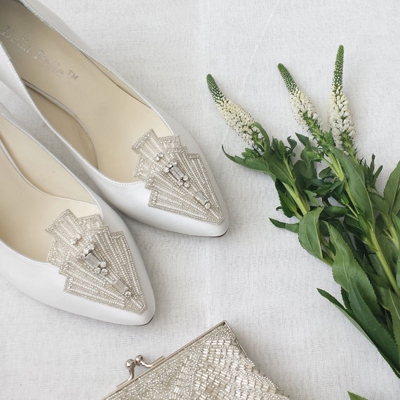 Art Deco White Wedding Shoes