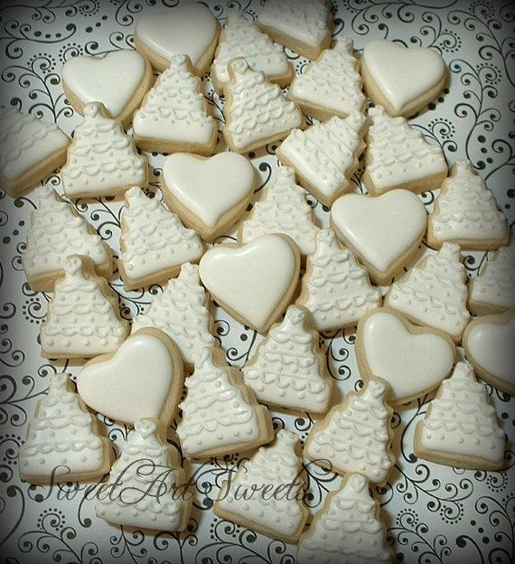 زفاف - Wedding cookies - 2 dozen - mini wedding cakes and hearts - New