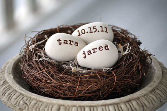 Nest with 3 personalized eggs for easter wedding baby shower nest with 3 personalized eggs for easter wedding baby shower bridal shower wedding gift new negle Image collections