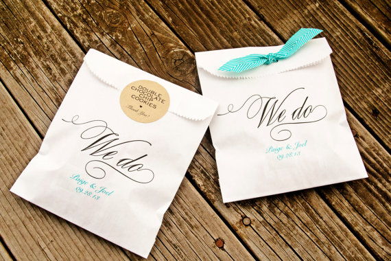 Свадьба - Wedding Favor Bags -  We Do Style  - Candy Buffet Bag - Wax Lined Bags - 25 White Bags in each Pack - New