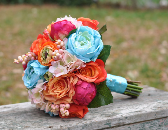 Wedding - Silk Wedding Bouquet, Wedding Bouquet, Keepsake Bouquet, Bridal Bouquet, Bright Summer Wedding Bouquet made of silk flowers. - New