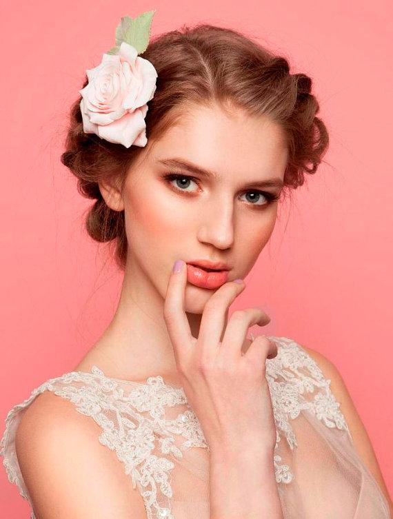 Mariage - Pale pink Rose Hair clip Wedding Bridal hairpiece
