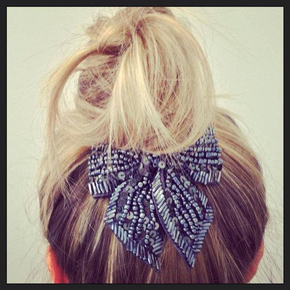 زفاف - Beaded Hairpiece, Beaded Hairclip, Clip, Hairpin, Hairpiece, Beaded clip, Embellished hairpiece, Statement hairpiece, Something Blue - LIZZI - New